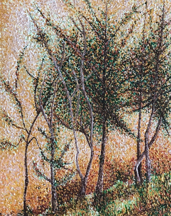 Autumn Trees Dancing on River Banks in Franschhoek Painting