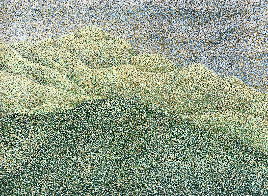 Spring Mountains in Franschhoek Pointillism Painting